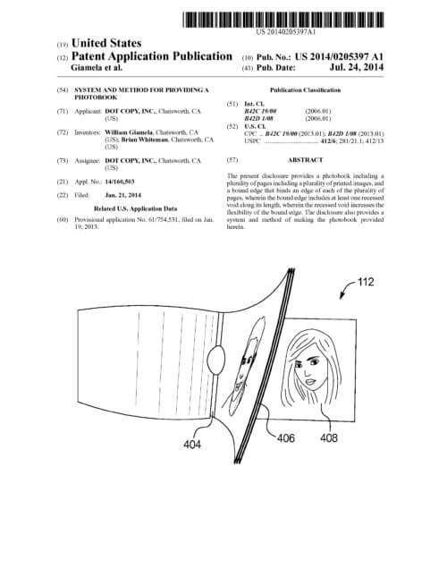 Groovebook United States Patent Publication